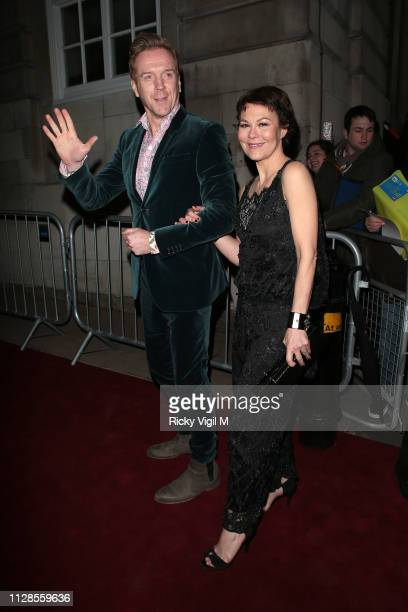 Damian Lewis and Helen McCrory seen attending the Charles Finch PreBAFTA Party at Loulou's on February 09 2019 in London England