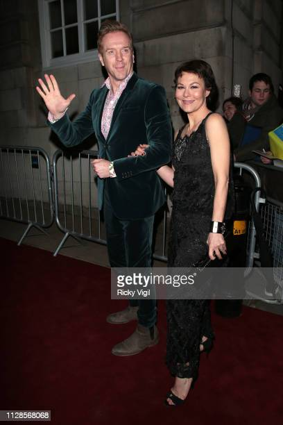 Damian Lewis and Helen McCrory seen attending the Charles Finch Pre-BAFTA Party at Loulou's on February 09, 2019 in London, England.