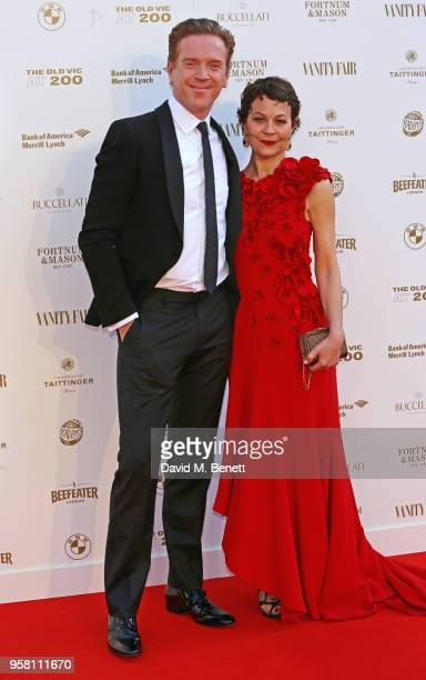 Damian Lewis and Helen McCrory wearing oneofakind Buccellati yellow and white Gold 'Ventaglio' Earrings set with Sapphires and Granates which was...
