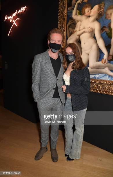 Damian Lewis and Manon McCrory-Lewis attend the private view of the newly opened 'Artemisia' & 'Sin' exhibitions at The National Gallery on October...