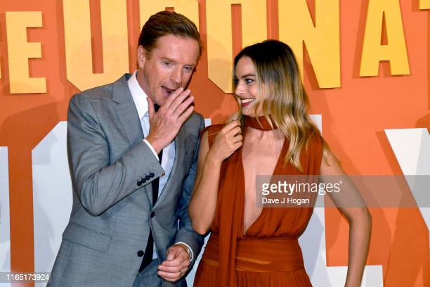 Damian Lewis and Margot Robbie attend the Once Upon a Time in Hollywood UK Premiere at Odeon Luxe Leicester Square on July 30 2019 in London England