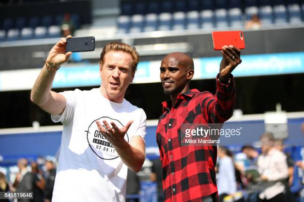 Damian Lewis and Mo Farah during the #GAME4GRENFELL at Loftus Road on September 2 2017 in London England The charity football match has been set up...