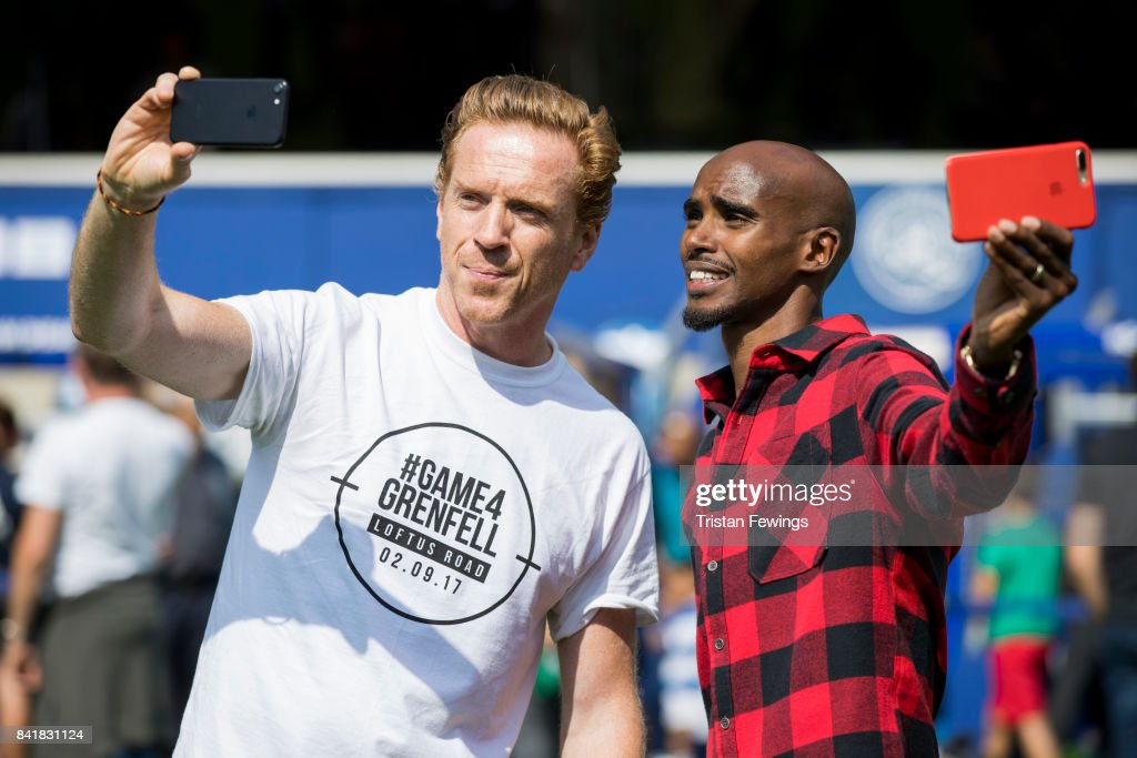 Damian Lewis and Mo Farah during the #GAME4GRENFELL at Loftus Road on September 2, 2017 in London, England. The charity football match has been set up to benefit those who were affected in the Grenfell Tower disaster.