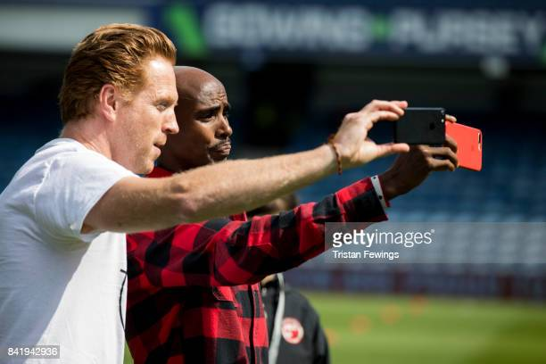 Damian Lewis and Mo Farah during the #GAME4GRENFELL at Loftus Road on September 2, 2017 in London, England. The charity football match has been set...