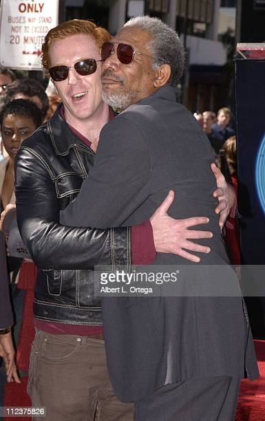 Damian Lewis and Morgan Freeman during Morgan Freeman Honored With A Star On The Hollywood Walk Of Fame at Hollywood Blvd in front of The Galaxy...