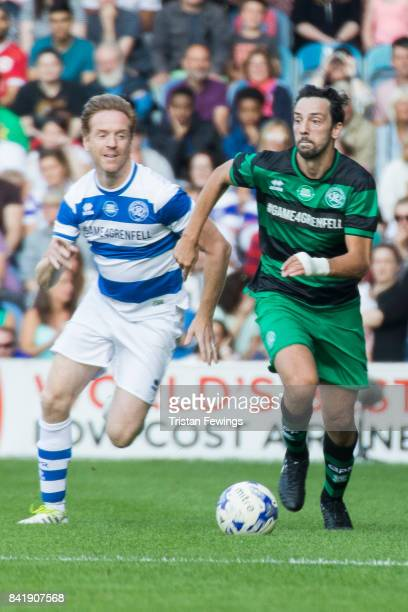 Damian Lewis and Ralf Little during the #GAME4GRENFELL at Loftus Road on September 2, 2017 in London, England. The charity football match has been...