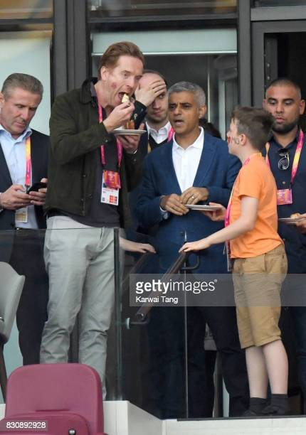 Damian Lewis and Sadiq Khan attend the IAAF World Athletics Championships at the London Stadium on August 12 2017 in London United Kingdom