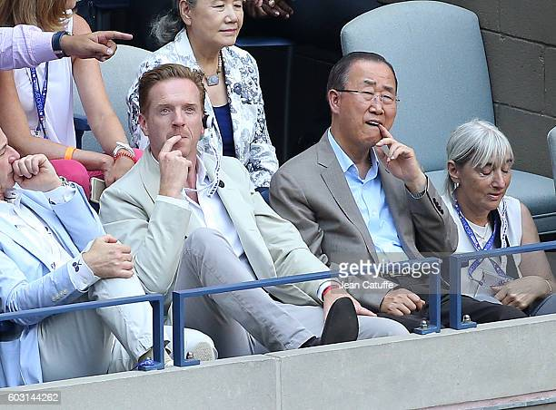 Damian Lewis, Ban Ki-moon attend the men's final between Novak Djokovic of Serbia and Stan Wawrinka of Switzerland at Arthur Ashe Stadium on day 14...