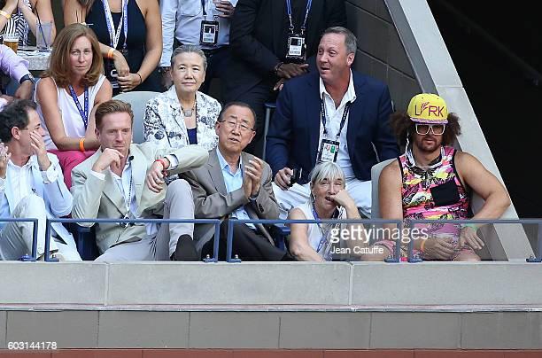 Damian Lewis, Ban Ki-moon, Redfoo aka Stefan Gordy attend the men's final between Novak Djokovic of Serbia and Stan Wawrinka of Switzerland at Arthur...