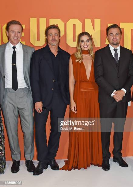 Damian Lewis Brad Pitt Margot Robbie and Leonardo DiCaprio attend the UK Premiere of Once Upon a TimeIn Hollywood at the Odeon Luxe Leicester Square...