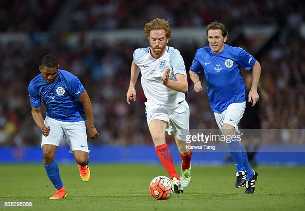 Damian Lewis in action today during Soccer Aid 2016 at Old Trafford on June 5, 2016 in Manchester, United Kingdom.