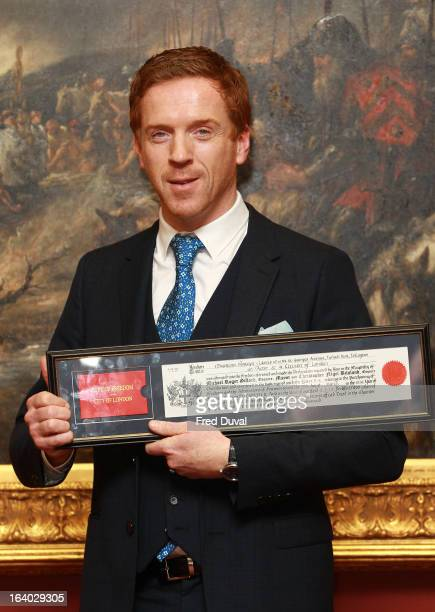 Damian Lewis is awarded the Freedom of the City of London at The Guildhall on March 19 2013 in London England