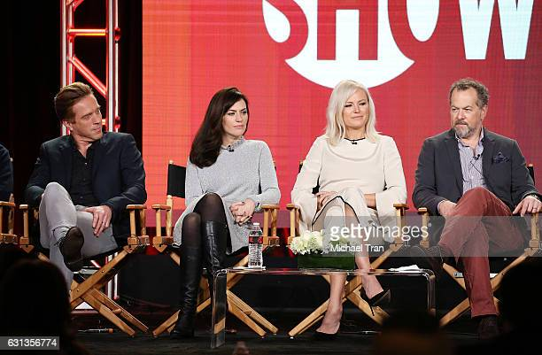 Damian Lewis Maggie Siff Malin Akerman and David Costabile for the television show Billions speak onstage during the 2017 Winter TCA Tour Panels CBS...