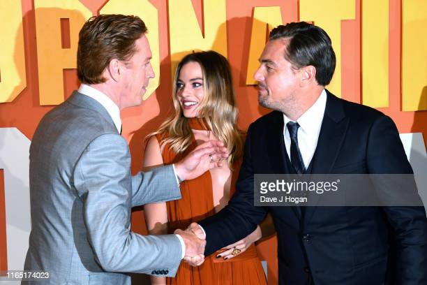 Damian Lewis Margot Robbie and Leonardo DiCaprio attend the Once Upon a Time in Hollywood UK Premiere at Odeon Luxe Leicester Square on July 30 2019...