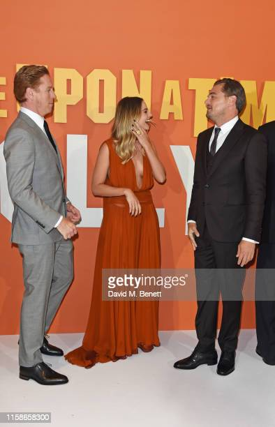 Damian Lewis Margot Robbie and Leonardo DiCaprio attend the UK Premiere of Once Upon a TimeIn Hollywood at the Odeon Luxe Leicester Square on July 30...