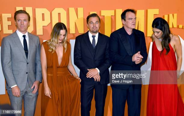 Damian Lewis Margot Robbie Leonardo DiCaprio Quentin Tarantino and Daniella Pick attend the Once Upon a Time in Hollywood UK Premiere at Odeon Luxe...