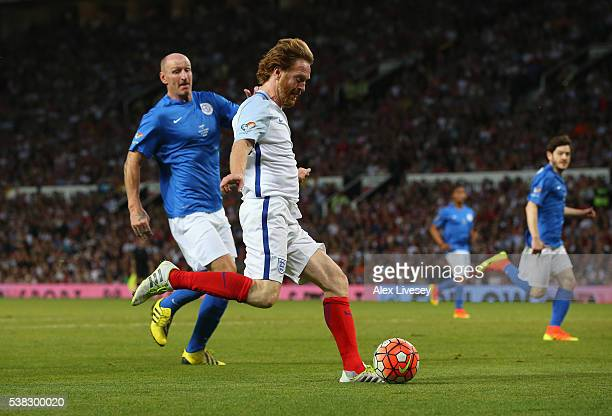 Damian Lewis of England during the Soccer Aid 2016 match in aid of UNICEF at Old Trafford on June 5, 2016 in Manchester, England.
