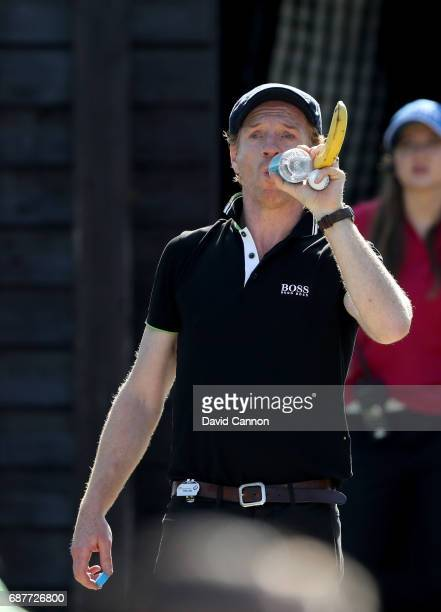 Damian Lewis of England the film television and stage actor waits on a tee during the proam for the 2017 BMW PGA Championship on the West Course at...