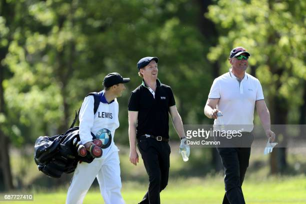 Damian Lewis of England the film television and stage actor walks with Sir Matthew Pinsent the British rowing Olympian during the proam for the 2017...