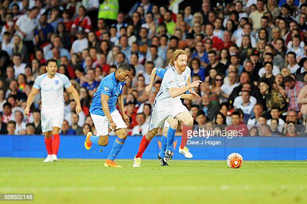 Damian Lewis plays during Soccer Aid at Old Trafford on June 5, 2016 in Manchester, England.