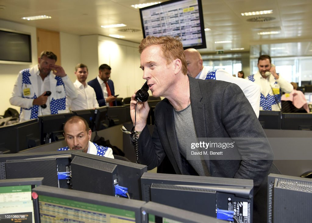 Damian Lewis representing the Sir Hubert Von Herkomer Foundation trades during the BGC Charity Day at One Churchill Place on September 11, 2018 in London, England.