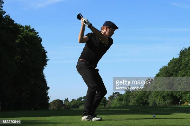 Damian Lewis tees off on the 4th during the BMW PGA Championship ProAM at Wentworth on May 24 2017 in Virginia Water England
