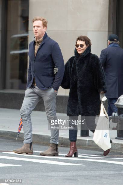 Damian Lewis with wife Helen McCrory out for lunch at Nellos restaurant on March 22 2019 in New York City