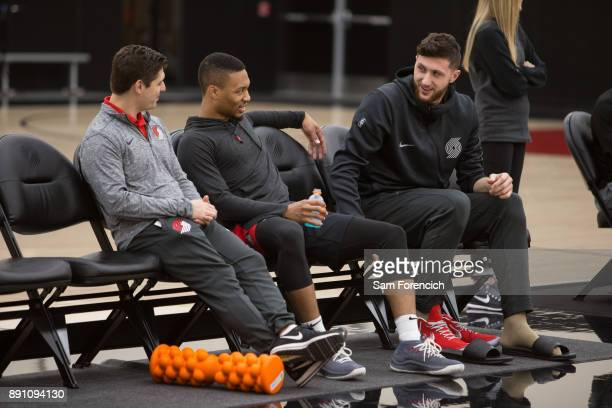Damian Lillard and Jusuf Nurkic of the Portland Trail Blazers smile and look on during an all access practice on December 7 2017 at the Trail Blazer...