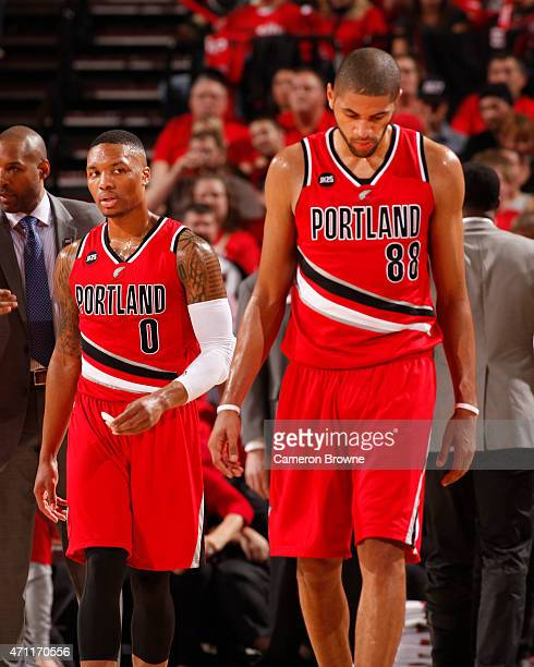 Damian Lillard and Nicolas Batum of the Portland Trail Blazers during Game Three of the Western Conference Quarterfinals against the Memphis...