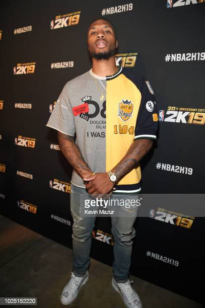 Damian Lillard attends the NBA 2K19 launch event at Greenpoint Terminal on August 29 2018 in New York City
