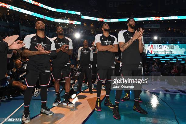 Damian Lillard Kawhi Leonard KarlAnthony Towns and Anthony Davis of Team LeBron look on during the 2019 NBA AllStar Game on February 17 2019 at...