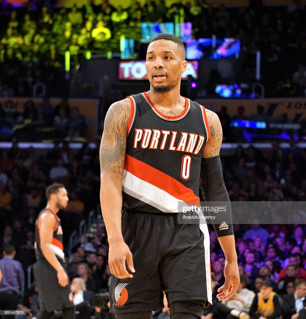 Damian Lillard (0) of Portland Trail Blazers gestures during a NBA game between Los Angeles Lakers and Portland Trail Blazers at Staples Center in Los Angeles, USA on January 10, 2017.