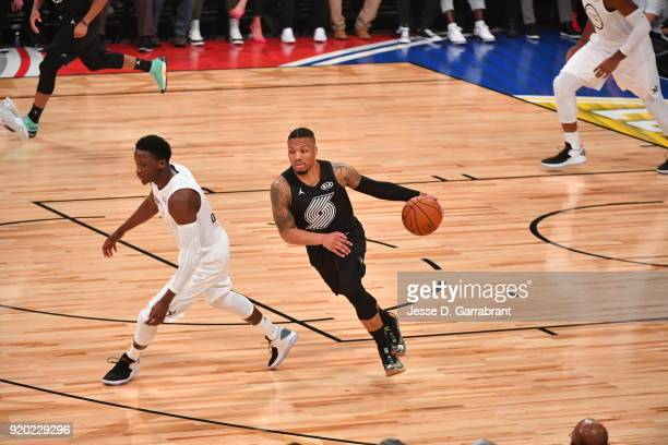 Damian Lillard of Team Curry dribbles up court against Team LeBron during the NBA AllStar Game as a part of 2018 NBA AllStar Weekend at STAPLES...