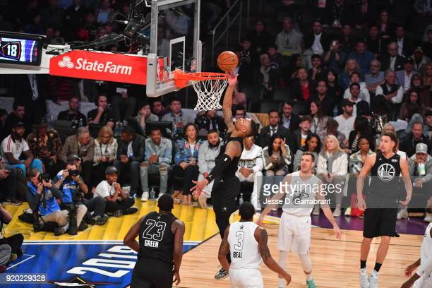 Damian Lillard of Team Curry goes up for the layup against Team LeBron during the NBA AllStar Game as a part of 2018 NBA AllStar Weekend at STAPLES...