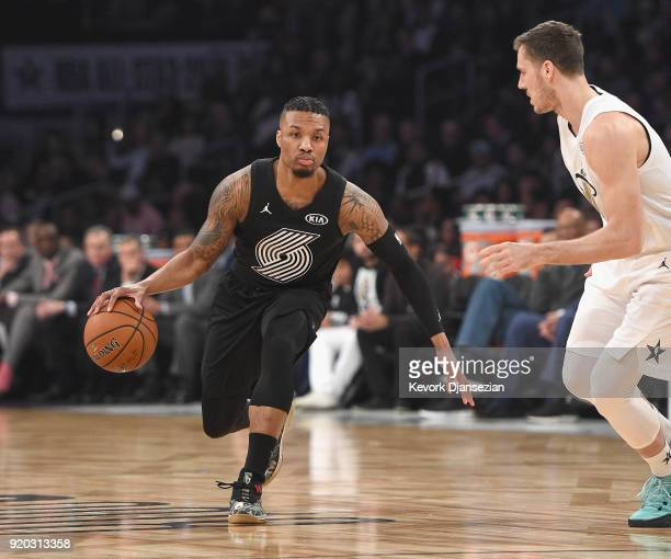 Damian Lillard of Team Stephen dribbles the ball against Goran Dragic of Team LeBron during the NBA AllStar Game 2018 at Staples Center on February...