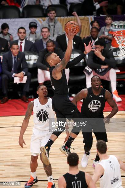 Damian Lillard of Team Stephen goes to the basket against Team LeBron during the NBA AllStar Game as a part of 2018 NBA AllStar Weekend at STAPLES...