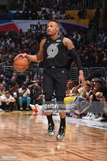 Damian Lillard Of Team Stephen handles the ball during the NBA AllStar Game as a part of 2018 NBA AllStar Weekend at STAPLES Center on February 18...