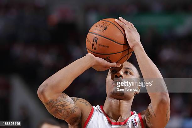 Damian Lillard of the Portland Trail Blazers aims for a free throw during the game between the Golden State Warriors and the Portland Trail Blazers...