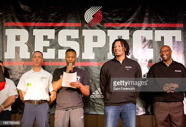 Damian Lillard of the Portland Trail Blazers along with former players Brian Grant and Jerome Kersey help tip off the 'RESPECT' antibullying campaign...