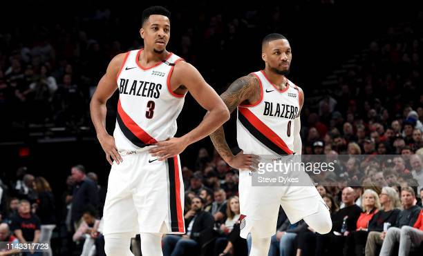 Damian Lillard of the Portland Trail Blazers and CJ McCollum of the Portland Trail Blazers in the first half of Game One of the Western Conference...