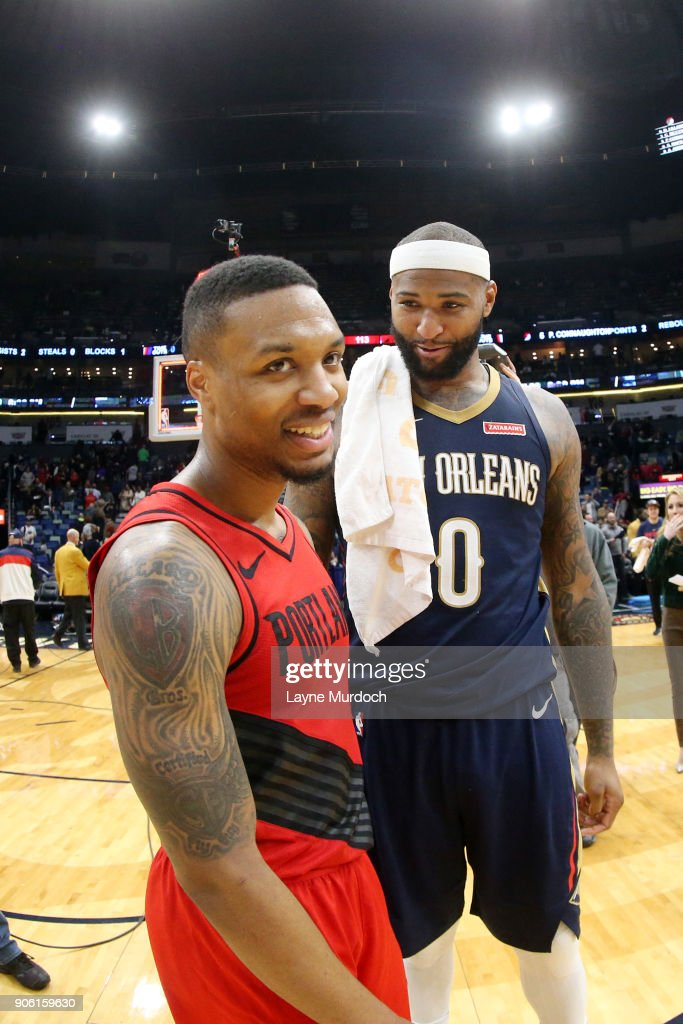 Damian Lillard #0 of the Portland Trail Blazers and DeMarcus Cousins #0 of the New Orleans Pelicans talk after the game between the two teams on January 12, 2018 at the Smoothie King Center in New Orleans, Louisiana.