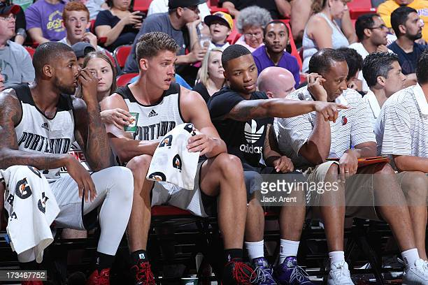 Damian Lillard of the Portland Trail Blazers and Meyers Leonard discuss the game during the NBA Summer League on July 14 2013 at the Thomas Mack...