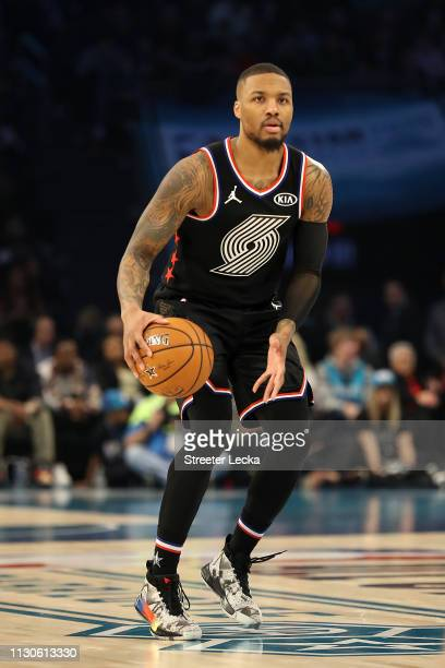 Damian Lillard of the Portland Trail Blazers and Team LeBron dribbles against Team Giannis during the NBA All-Star game as part of the 2019 NBA...