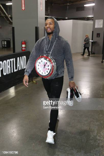 Damian Lillard of the Portland Trail Blazers arrives at the arena before the game against the Miami Heat on February 5 2019 at the Moda Center Arena...