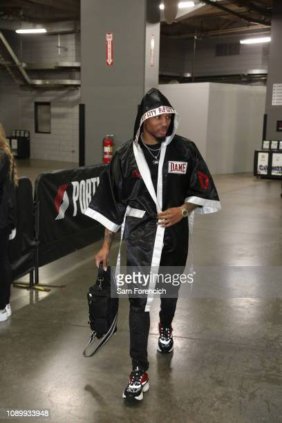 Damian Lillard of the Portland Trail Blazers arrives for the game against the Atlanta Hawks on January 26 2019 at the Moda Center Arena in Portland...