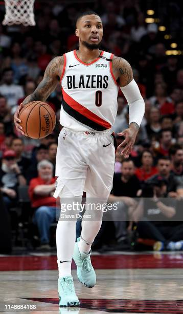 Damian Lillard of the Portland Trail Blazers brings the ball up the court during the second half of Game Six of the Western Conference Semifinals...