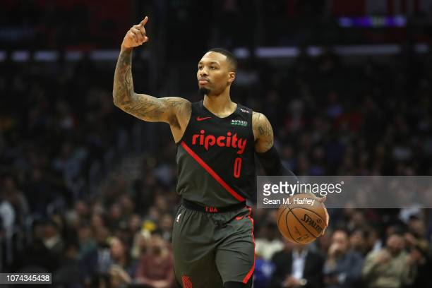 Damian Lillard of the Portland Trail Blazers calls a play during the first half of a game against the Los Angeles Clippers at Staples Center on...