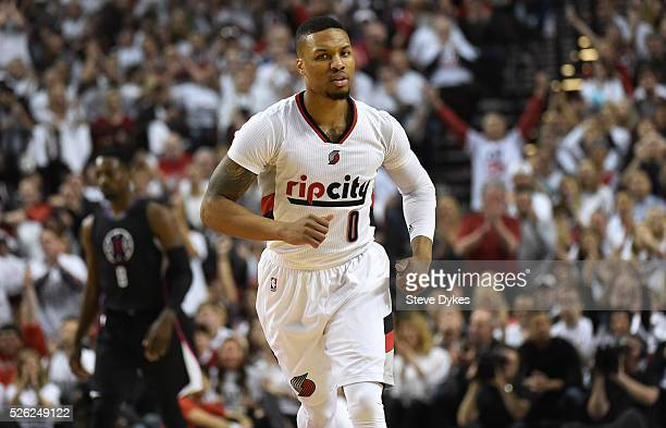 Damian Lillard of the Portland Trail Blazers celebrates after scoring in the first quarter of Game Six of the Western Conference Quarterfinals...