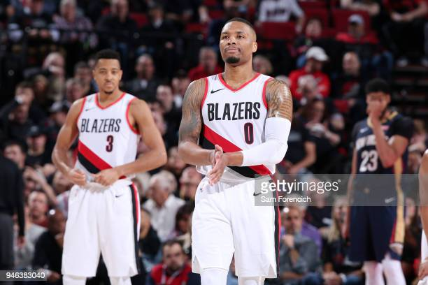 Damian Lillard of the Portland Trail Blazers celebrates during the game against the New Orleans Pelicans in Game One of Round One of the 2018 NBA...