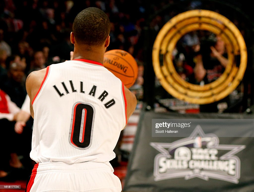 Damian Lillard of the Portland Trail Blazers competes in the Taco Bell Skills Challenge part of 2013 NBA All-Star Weekend at the Toyota Center on February 16, 2013 in Houston, Texas.